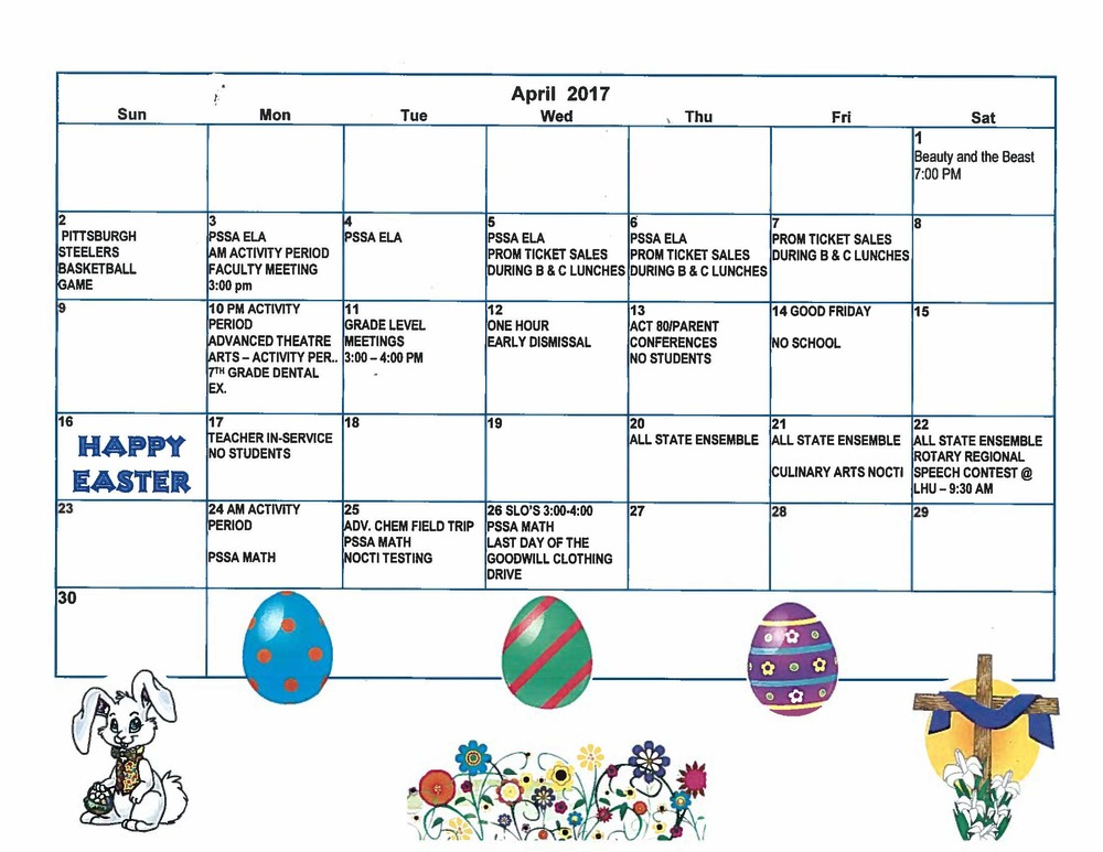 April Events Calendar!