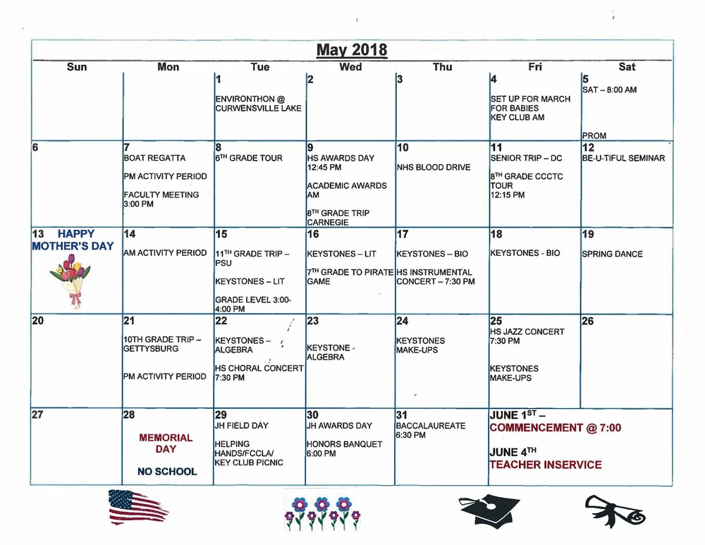 Jr./ Sr. High School May Events Calendar