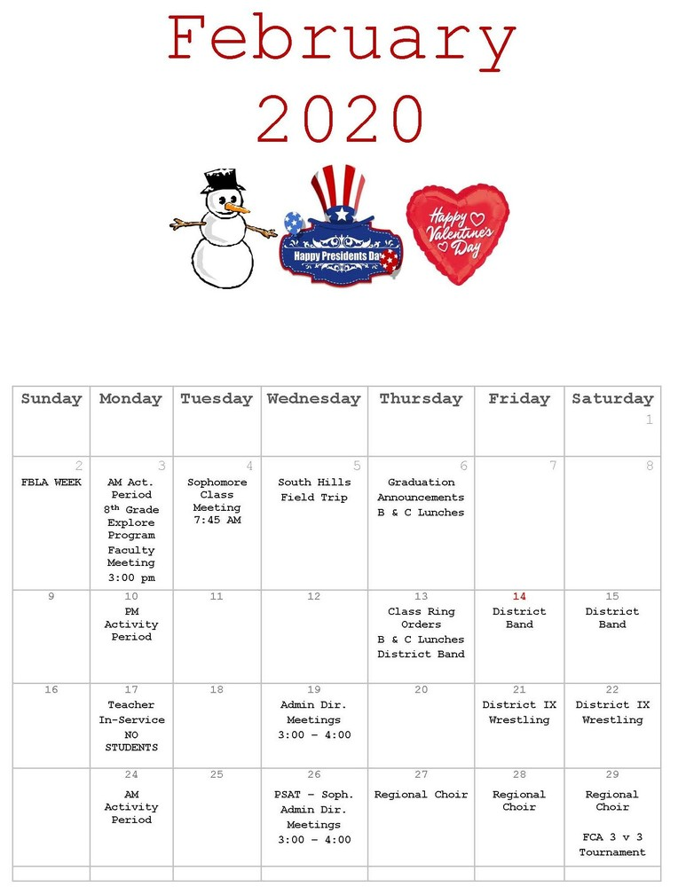 CAJSHS February Calendar of Events