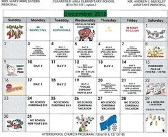 Clearfield Area Elementary December Calendar of Events
