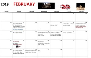 Clearfield Area Junior/ Senior High February Events Calendar