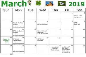 CAJSHS March Calendar of Events