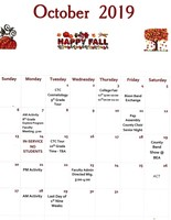 October 2019 Junior/ Senior High Calendar of Events