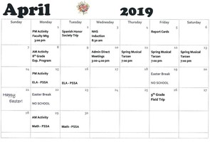 Junior/ Senior High School April Calendar of Events