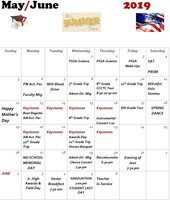 May/ June HS Calendar of Events